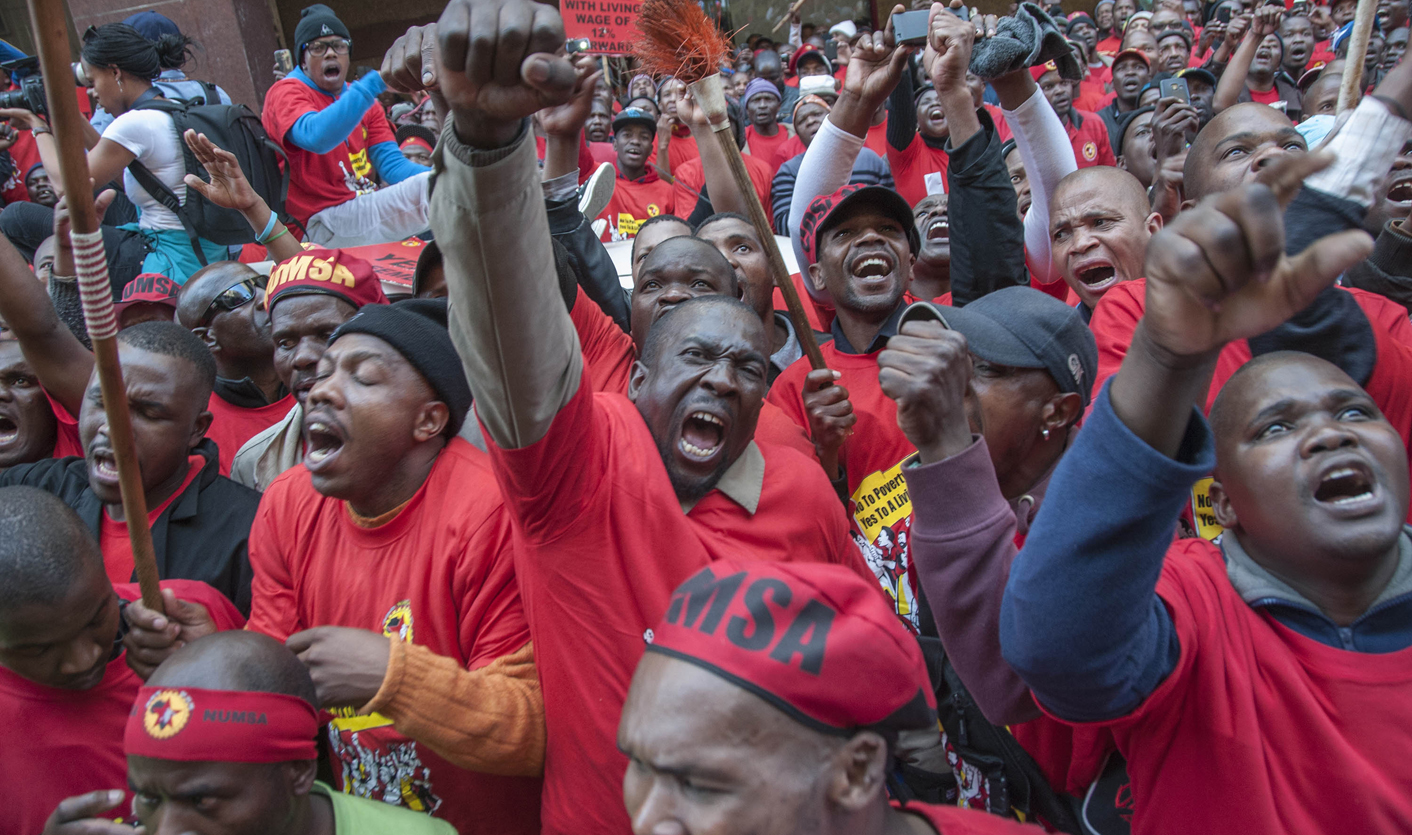 Thousands of members of the National Union of Metalworkers of South Africa (Numsa), the country's largest union, take part in a strike action in Johannesburg, South Africa, 01 July 2014. More than 220,000 metal workers have gone on strike throughout the country demanding an increase of 12 percent, nearly double the current inflation rate. EPA/IHSAAN HAFFEJEE