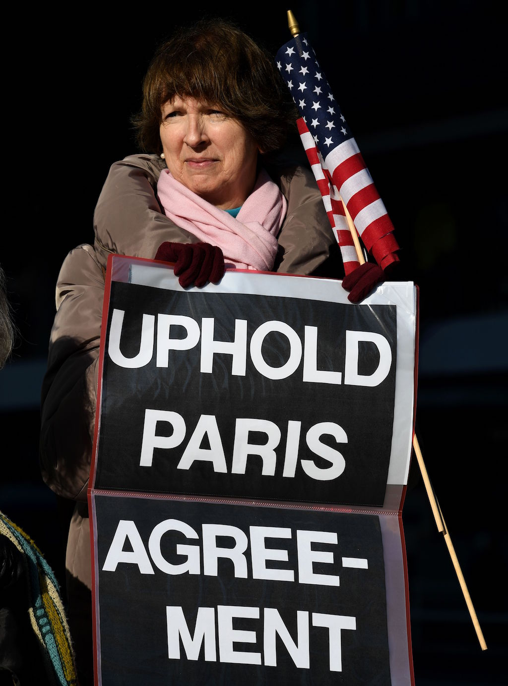 US residents living in Japan and local residents hold a rally near the US embassy in Tokyo on March 16, 2017. About 13 demonstrators demanded visiting US Secretary of State Rex Tillerson to reaffirm the US commitment to the Paris Agreement on climate change. / AFP PHOTO / TOSHIFUMI KITAMURA####################TOSHIFUMI KITAMURA